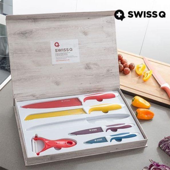 Комплект Ножове с Керамично Покритие Swiss Q (6 броя)