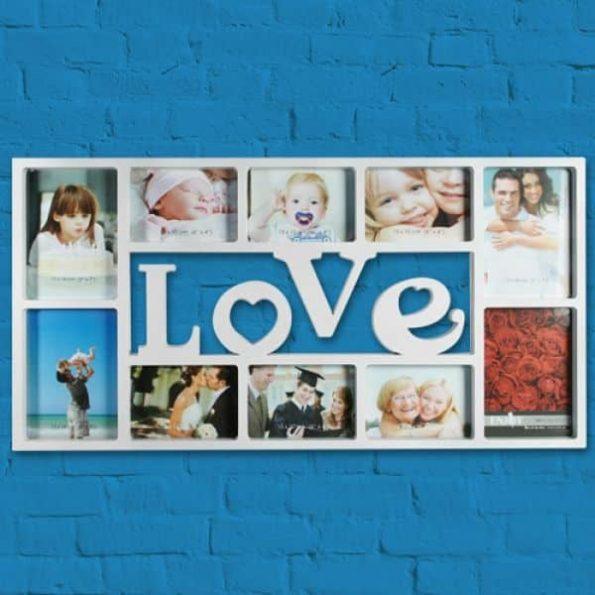 Рамка за Снимки Love (10 снимки), Бял