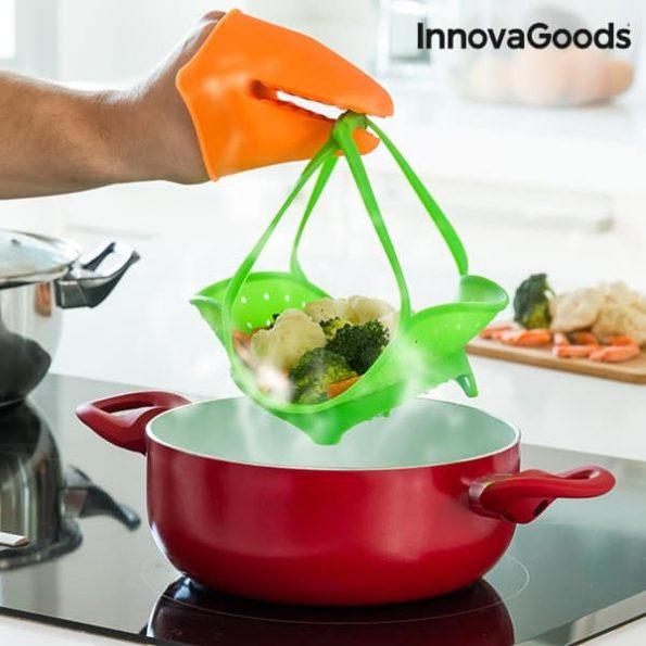 Сгъваем Силиконов Уред за Готвене на Пара InnovaGoods Kitchen Foodies