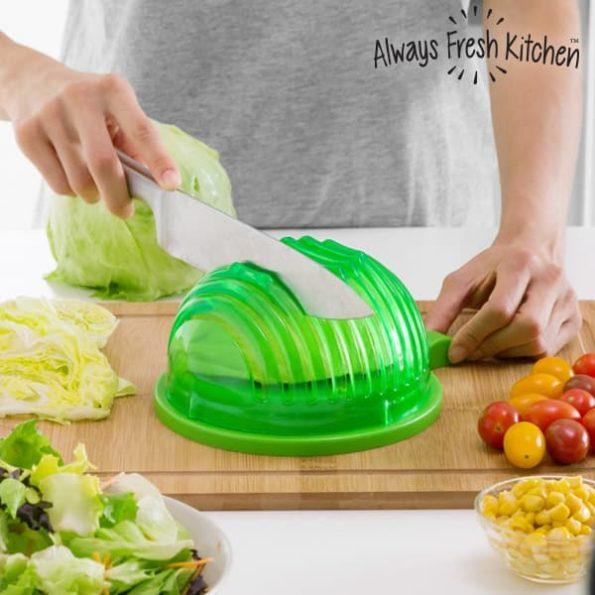 Уред за Миене, Изцеждане и Бързо Рязане на Салата Quick Salad Maker